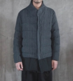 棉麻拼接条纹羽绒服