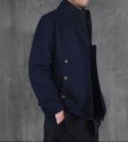竖领藏青呢外套