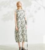 印花无袖灯笼型连衣裙