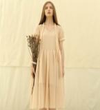 天丝薄纱香槟粉连衣裙