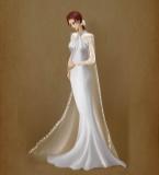 蕾丝边斗篷鱼尾婚纱