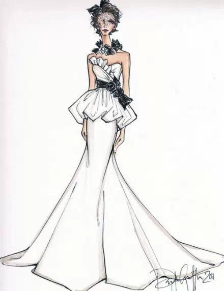 服装设计网 教程 时装画/手绘技巧       神秘女郎 礼服