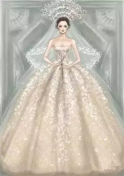 欣赏完如此唯美的手绘婚纱礼服,你是不是想结婚了