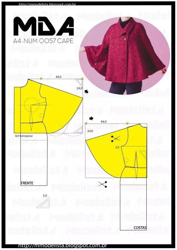 10款秋冬必备的斗篷 披肩大衣裁剪图 制版技术 服装设计教程 服装设计网