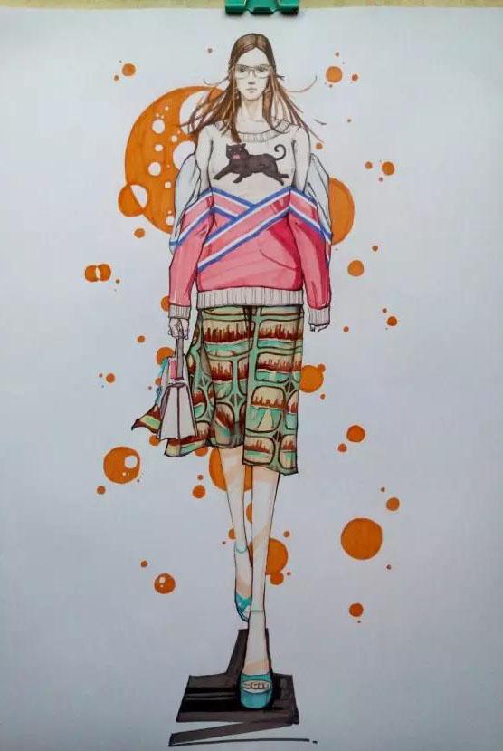 时装画手绘   服装效果图步骤图-时装画\/手绘技