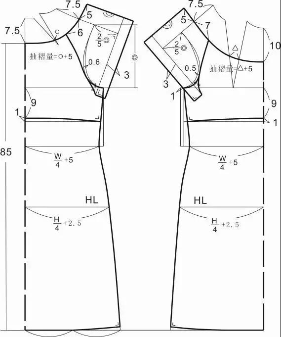 插肩袖抽褶式连衣裙结构设计
