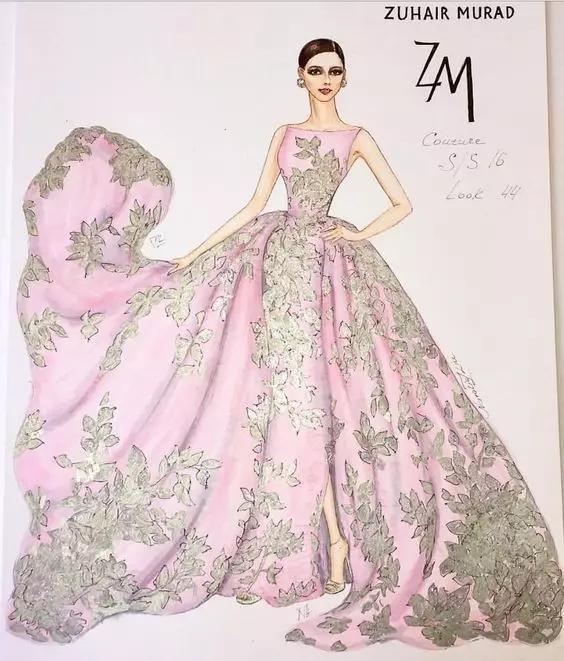 时装设计师笔下的70张华丽礼服手绘