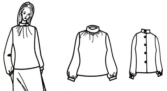 款式2:衣身褶裥和袖口抽褶图片