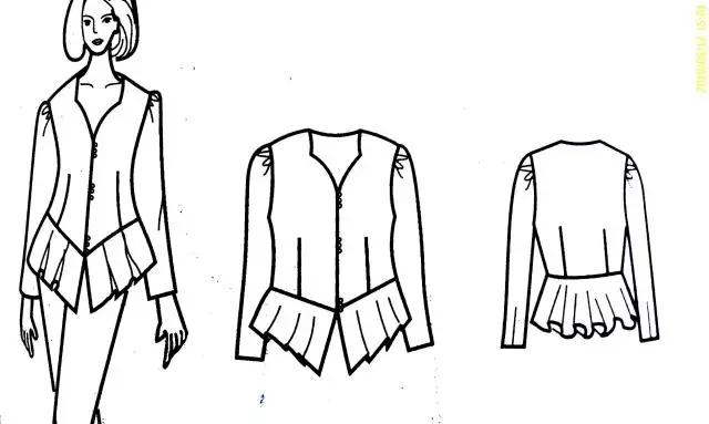 手绘女衬衣款式图