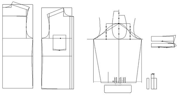 男衬衫纸样结构图如下