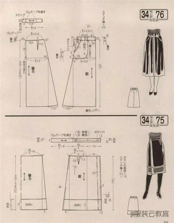 图纸集 女士背带裤 裙 衬衫 西装裁剪图
