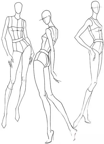 服装设计网 教程 时装画/手绘技巧  时装画模特类似初学绘画时同学们