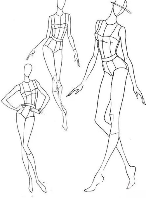 服装人体线稿形态_时装画 | 时装人体动态:从9头身到时装效果图线稿表现!-服装 ...