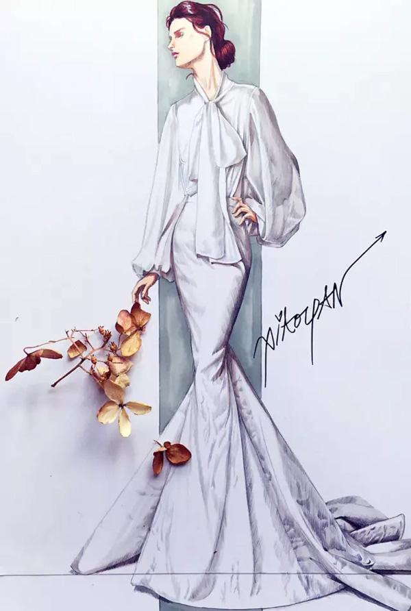 服装设计网 教程 时装画/手绘技巧     婚纱礼服的手绘,从基本礼服