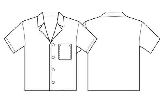男装夏威夷t恤的纸样制作及排版-裁剪放码-服装设计