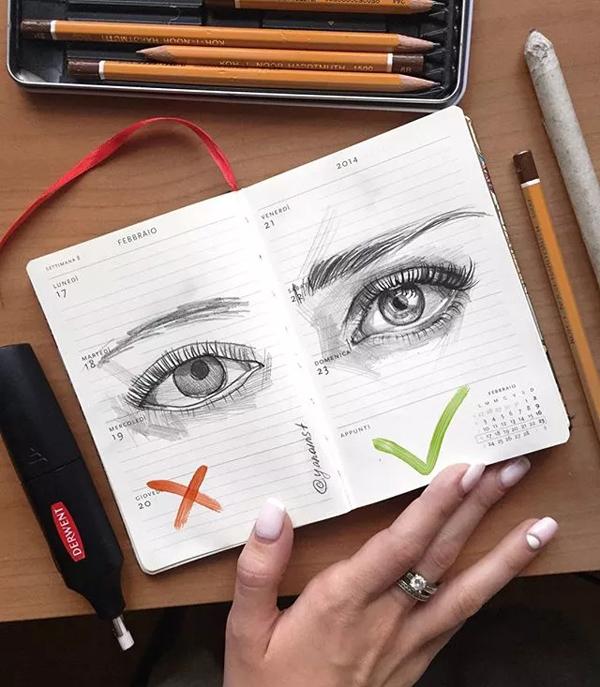 正面眼睛的素描步骤图