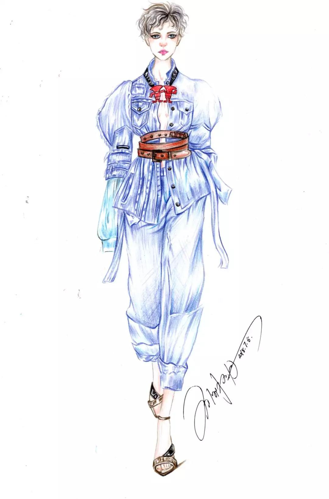 服装排版技巧_时装手绘 | 彩铅时装画-时装画/手绘技巧-服装设计教程-CFW服装设计