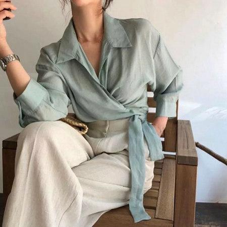 衬衫+奶奶裤,秋天超慵懒时髦风穿搭(图18)