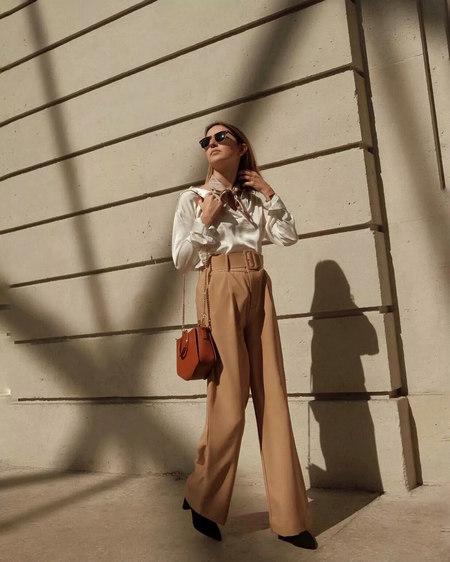 衬衫+奶奶裤,秋天超慵懒时髦风穿搭(图9)