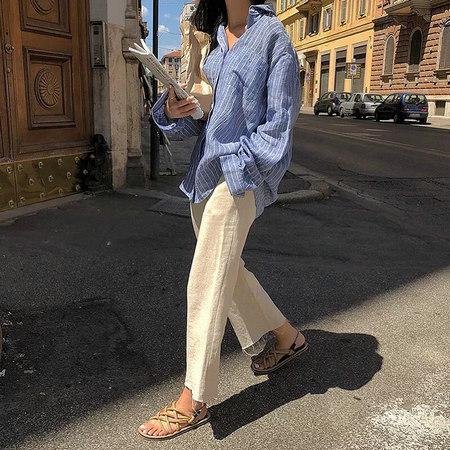 衬衫+奶奶裤,秋天超慵懒时髦风穿搭(图30)