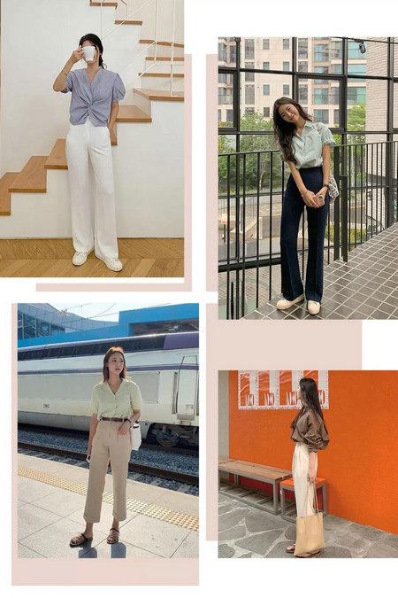 衬衫+奶奶裤,秋天超慵懒时髦风穿搭(图5)
