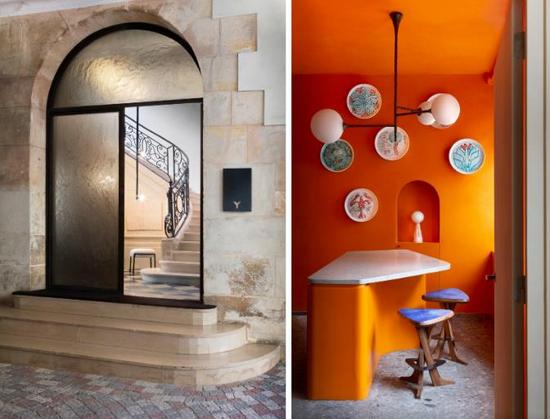 左:Pierre Yovanovitch陈列室所在的私人豪宅 右:陈列室内部设计 图片来源:admagazine.fr©Jean-Pierre Vaillancourt