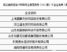 工信部公示第一批符合印染行业规范条件企业名单
