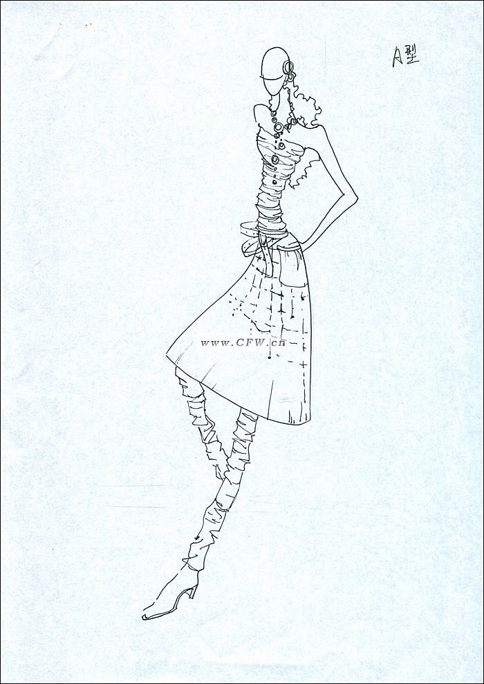 黑白手绘稿2-女装设计-服装设计