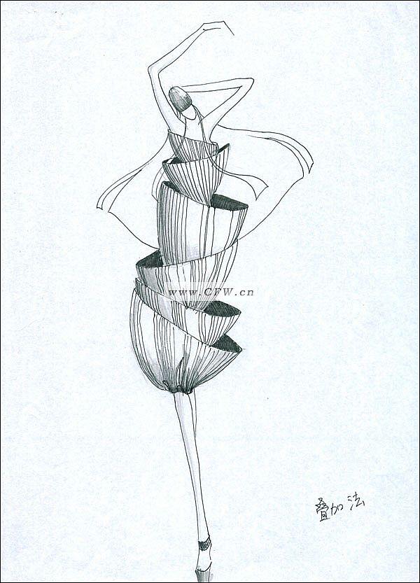 黑白手绘稿4-女装设计-服装设计