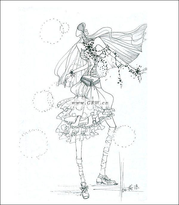 黑白手绘稿1-女装设计-服装设计