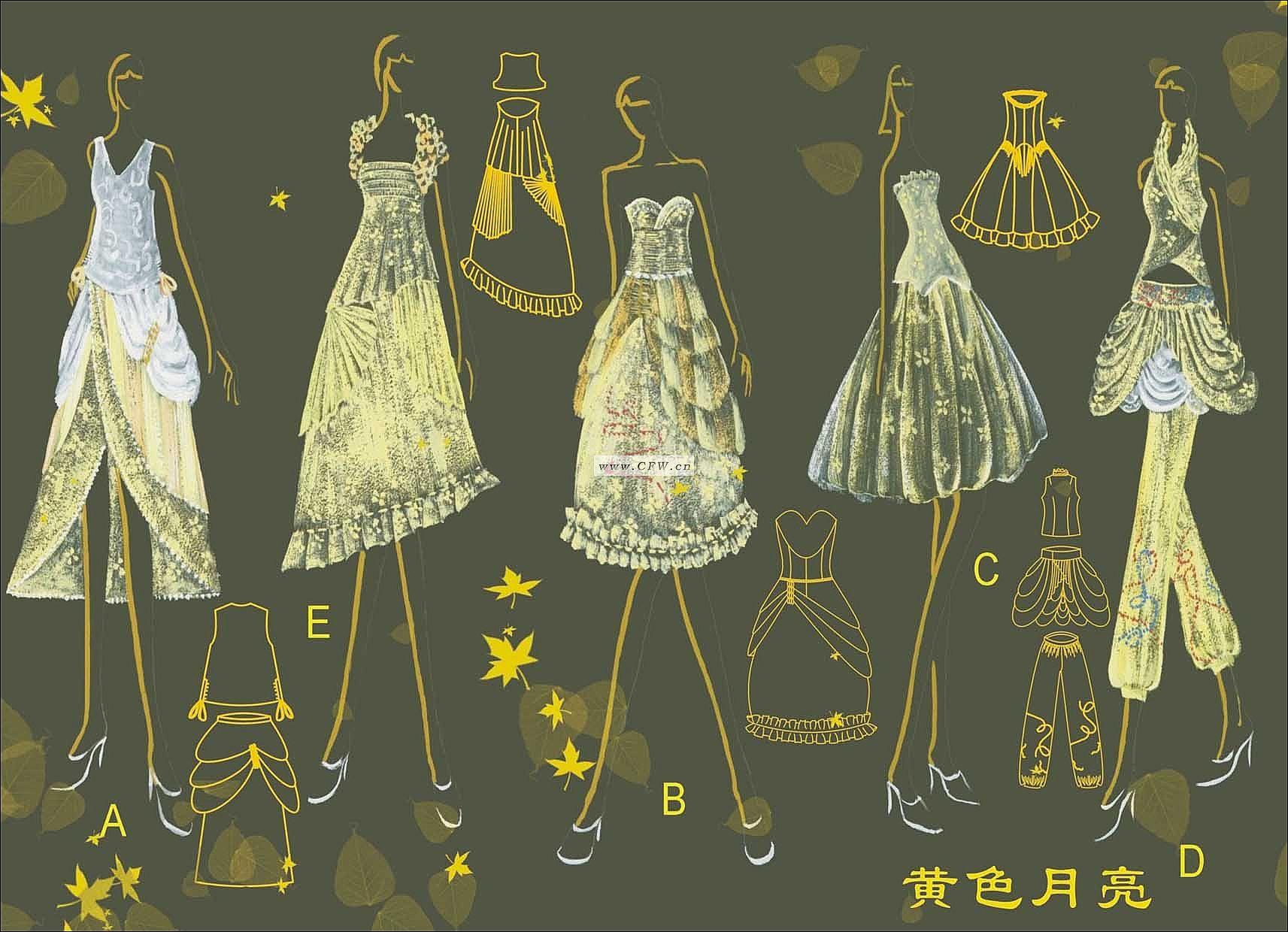 黄色月亮-大赛作品设计-服装设计图片