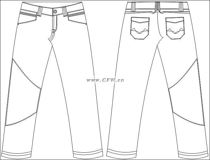 牛仔裤款式图手绘_牛仔裤设计手绘图