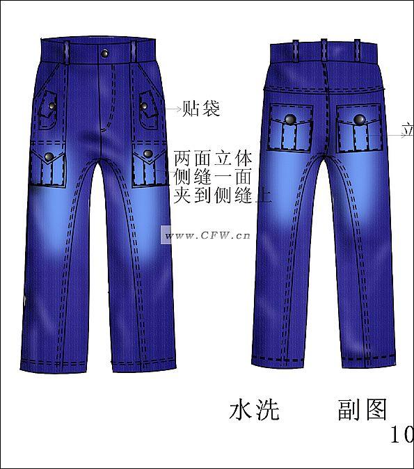 牛仔裤子款式图