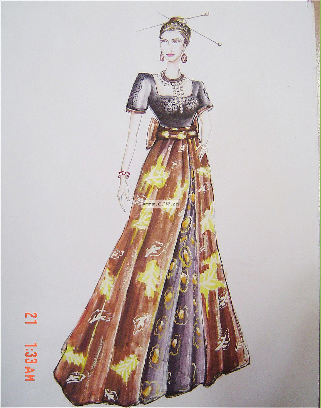 气质礼服(手绘)作品-气质礼服(手绘)款式图