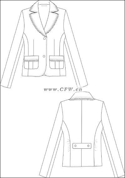 小西装平面图2-女装设计-服装设计图片