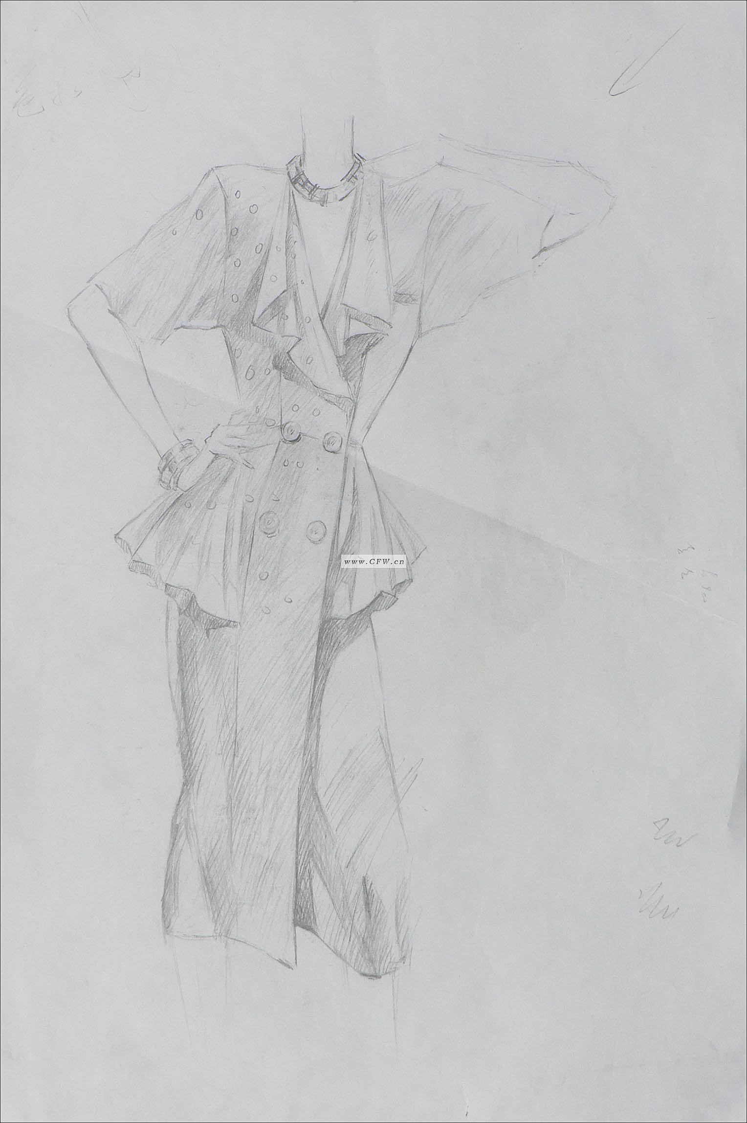 笔手绘现代服装