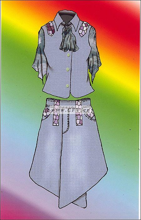 牛仔套装-女装设计-服装设计