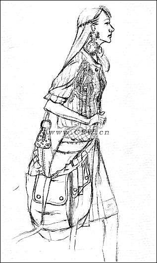 手绘旗袍_女装连衣裙设计手稿图-女士连衣裙款式效果图-CFW服装设计