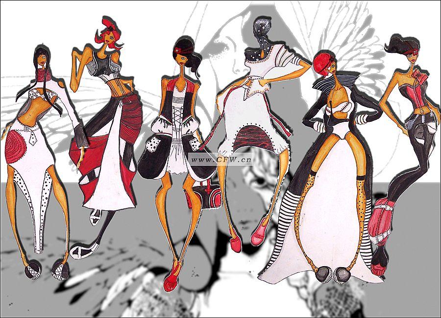 服装手绘效果图 设计作品