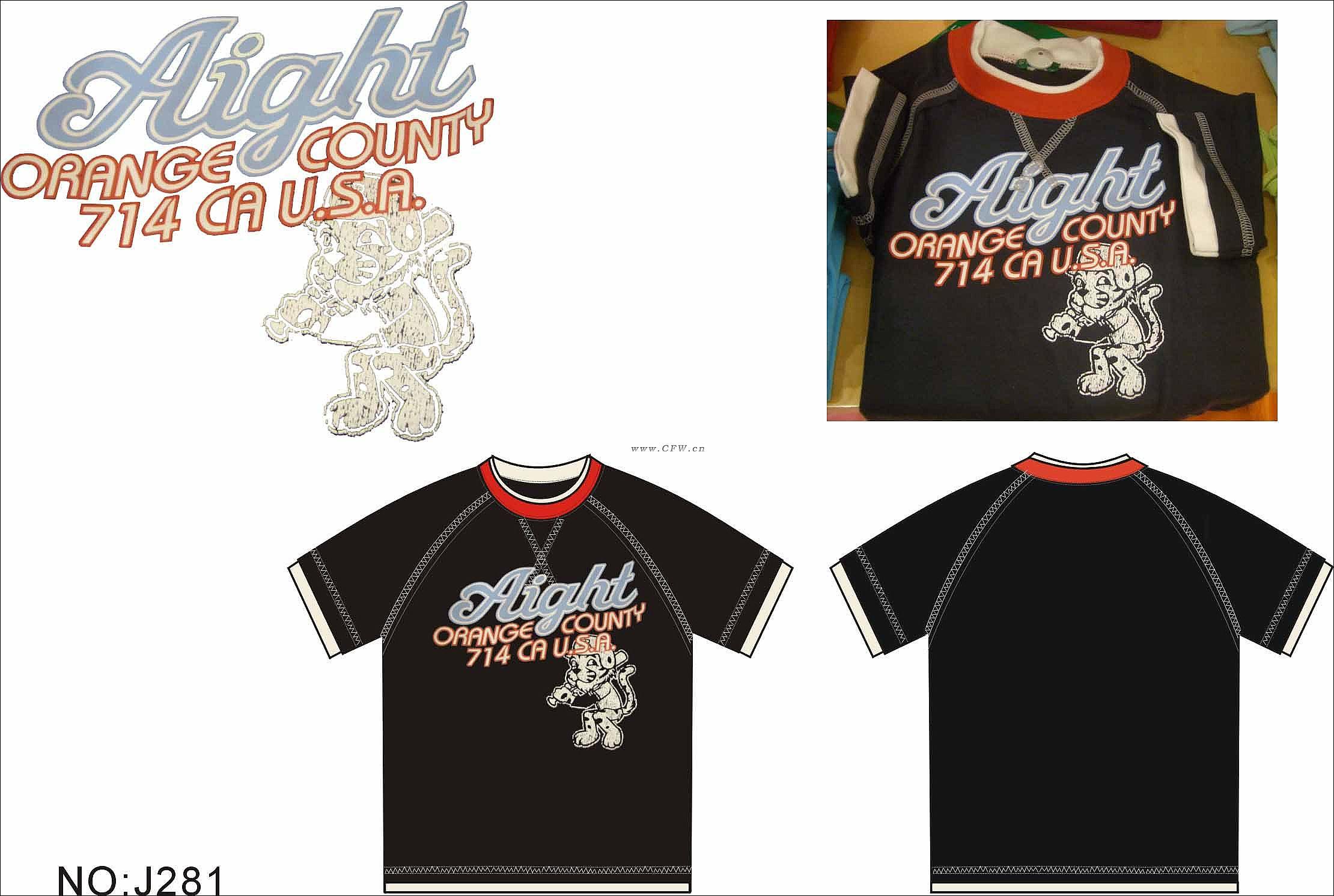 短袖t恤设计作品-短袖t恤设计款式图