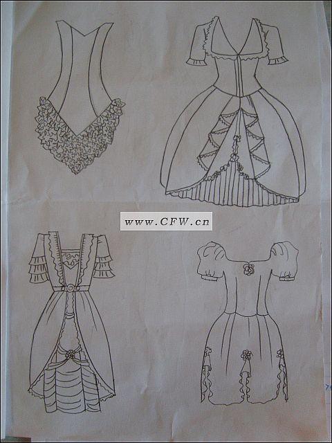 礼服款式图西手绘