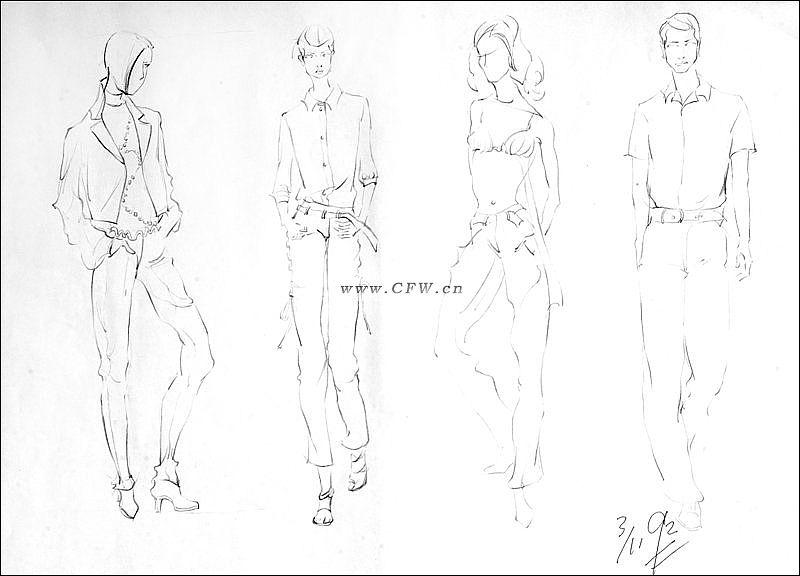线稿效果图-女装设计-服装设计-服装设计网手机版|触