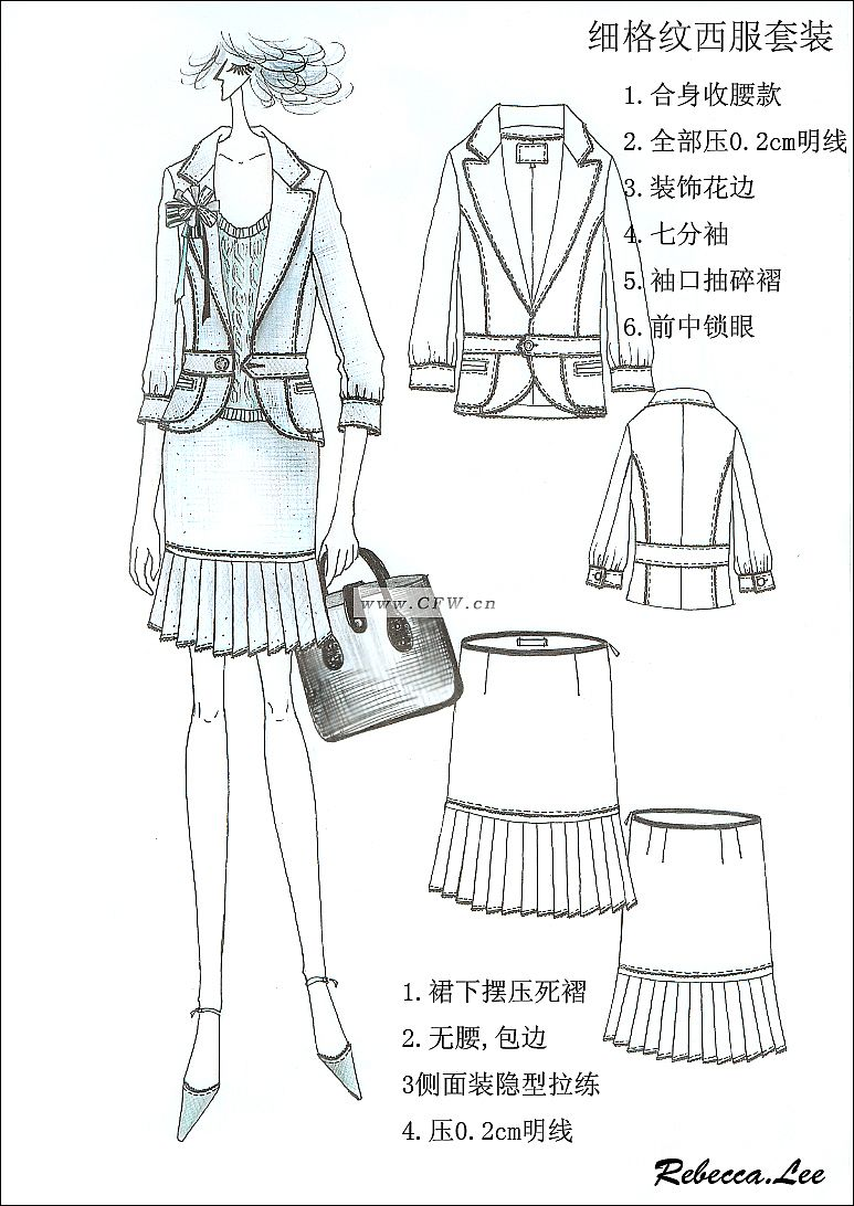 手绘时装作品-职业服装设计-服装设计