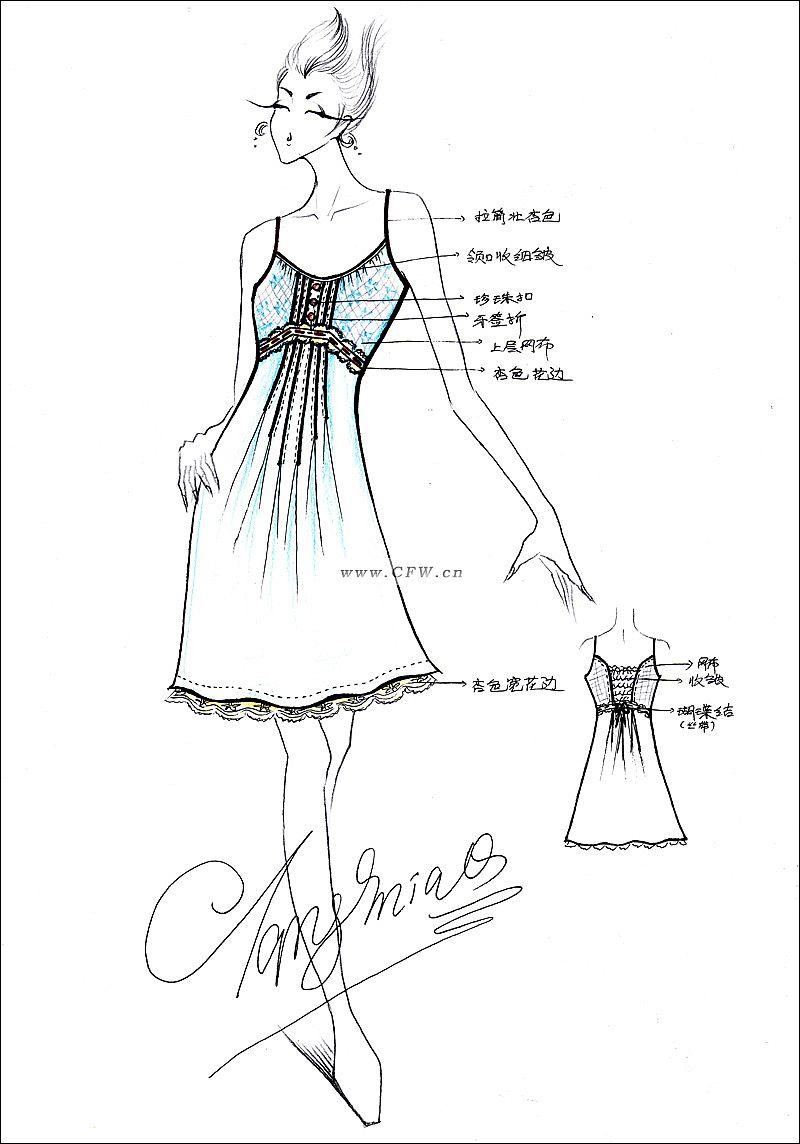 连衣裙设计-连衣裙款式图-公主裙设计图-服装设计