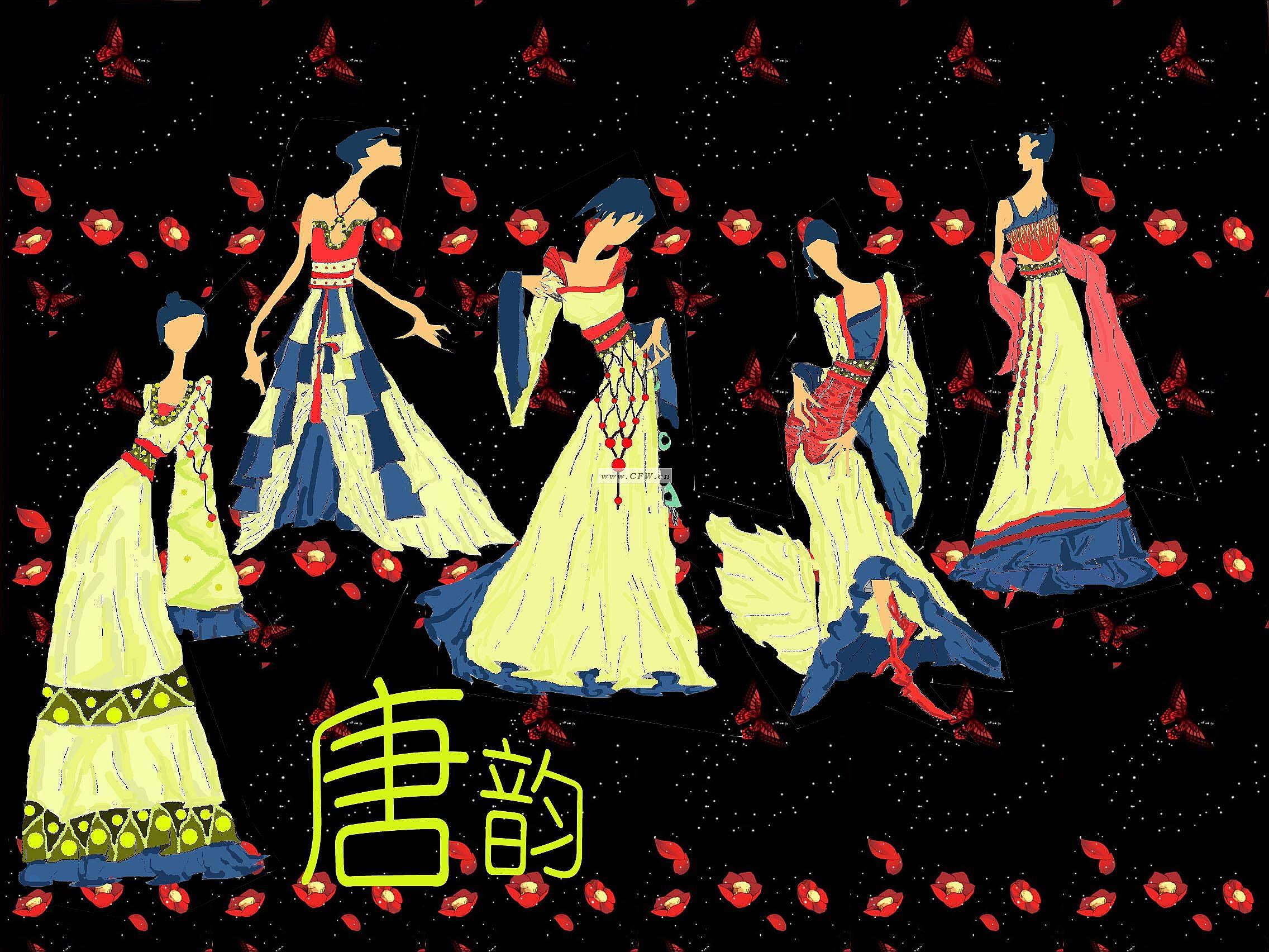 本设计创意来自于唐朝的服装,把唐装与现代晚礼服相结合,既展现穿着
