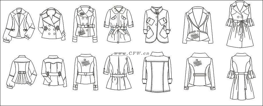 电脑平面图-女装设计-服装设计