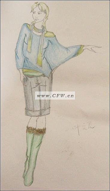 彩铅手绘图-女装设计-服装设计
