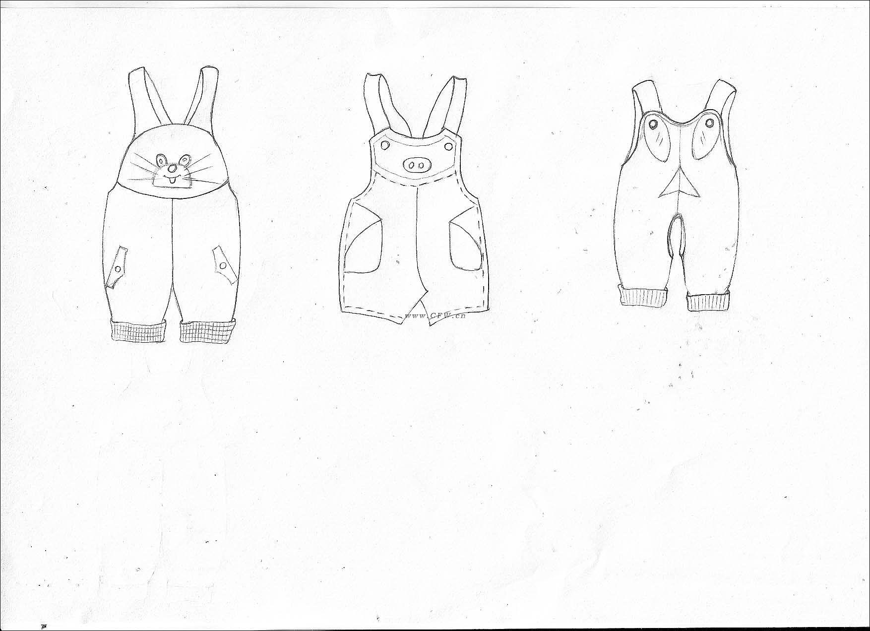 背背裤作品-背背裤款式图