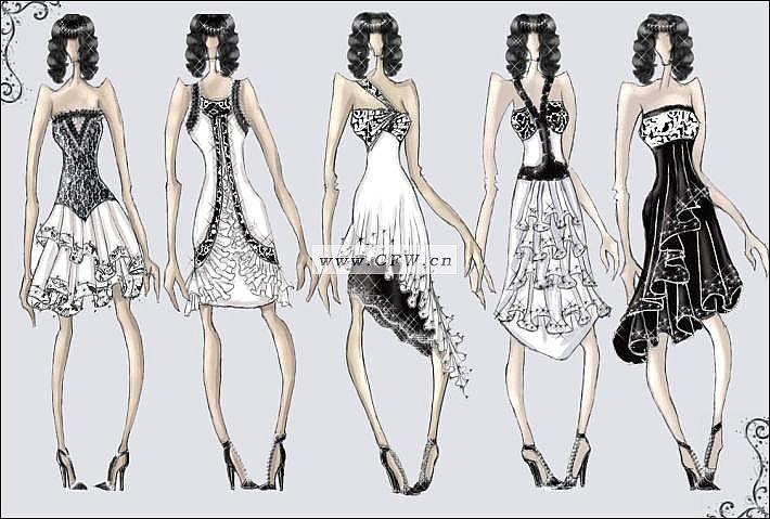 小礼服设计作品-小礼服设计款式图