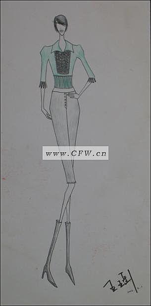 手绘时装图-女装设计-服装设计